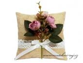 Zobrazit detail - Jutový polštářek s květinami