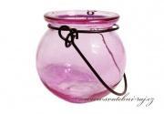 Svíčník na zavěšení růžový