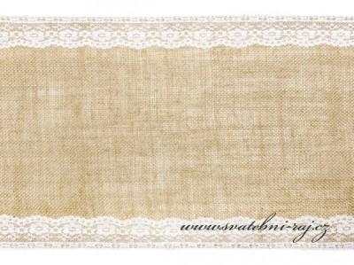 Jutový běhoun lemovaný krajkou, šíře 28 cm