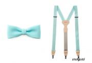 Zobrazit detail - Motýlek s kapesníčkem a šle mint-blue