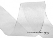 Šifónová stuha bílá, šíře 40 mm