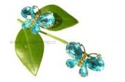 Zobrazit detail - Štrasový motýlek v modré barvě