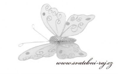 Stříbrný motýl s glitry