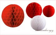 Koule Honeycomb červená, 20 cm průměr
