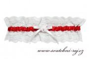 Zobrazit detail - Svatební podvazek s červenou stuhou