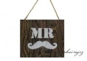 Zobrazit detail - Dřevěná tabulka - MR s knírkem