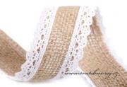 Zobrazit detail - Jutová stuha s paličkovanou krajkou