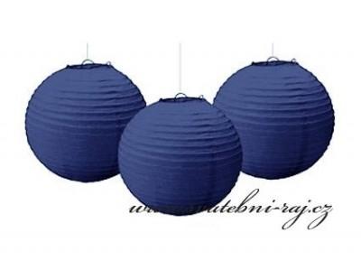 Lampion koule navy blue, průměr 25 cm