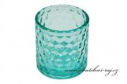 Skleněný svícínek v barvě mint-blue