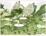 Perličky na silonu v zelené barvě