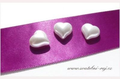 Bílé perleťové srdíčko