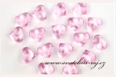 Akrylová srdíčka růžová