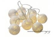 Světelný řetěz koule smetanový - 10 balónků