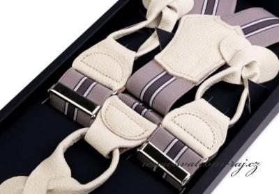Luxusní šle s koženými poutky