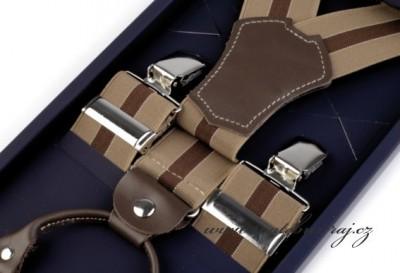 Luxusní šle s koženými prvky