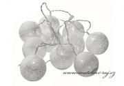 Světelný řetěz koule bílý - 10 balónků