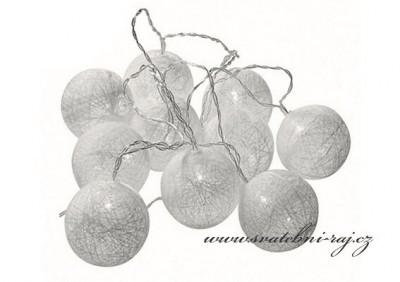 Světelný řetěz bílý - 10 balónků