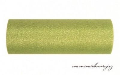 Tyl zdobený glitry zelený