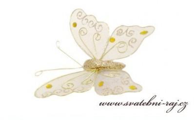 Motýlek dekorační zlatý