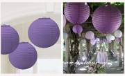 Lampion koule fialový, 30 cm průměr