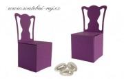 Papírová krabička židle tmavě fialová