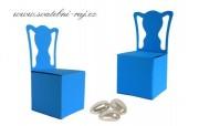 Papírová krabička židle modrá