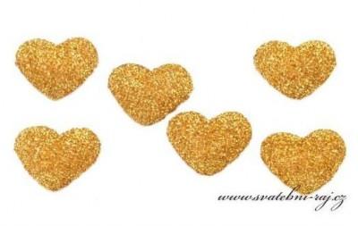 Zlaté srdíčko s glitry