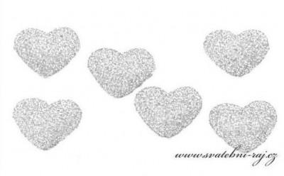 Srdíčko stříbrné s glitry