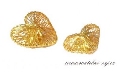 Drátěná srdíčka zlatá