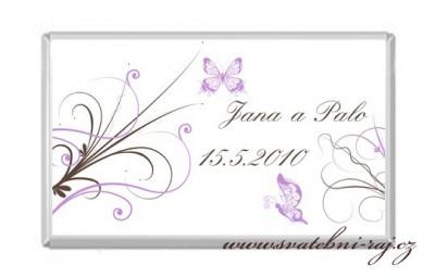 Svatební čokoláda s motýlky