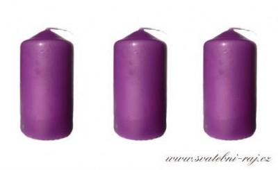 Svíčka válec tmavě fialová