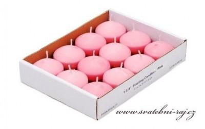 Růžové plovoucí svíčky