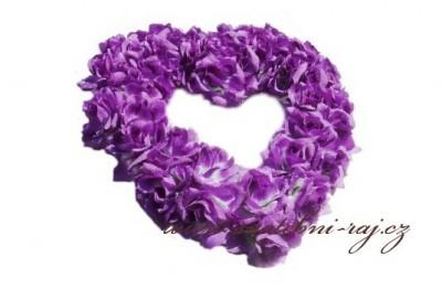 Srdce z růží fialové