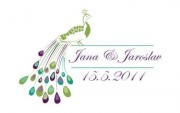 Zobrazit detail - Svatební logo s pávem