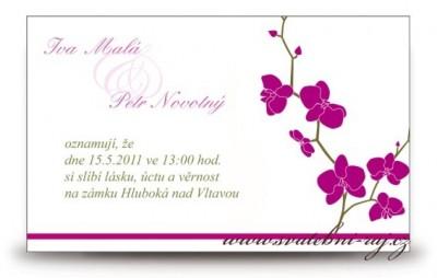 Svatební oznámení orchidej