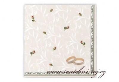 Svatební ubrousky s prstýnky