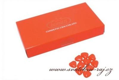 Čokoládová srdíčka červená