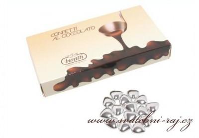 Čokoládová srdíčka stříbrná