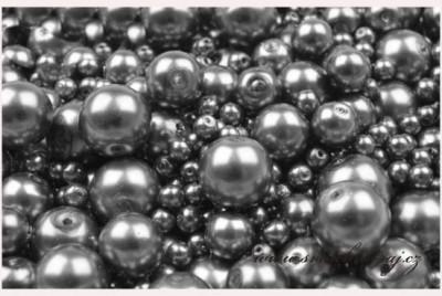 Voskované perly šedé