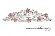 Zobrazit detail - Nádherná štrasová korunka růžovo-čirá