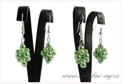 Zelené náušnice perly