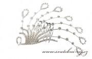 Zobrazit detail - Luxusní štrasový hřeben paví pera