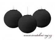 Papírový lampion černý, průměr 20 cm