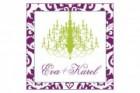 Svatební samolepka fialový dekor