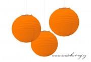 Papírový lampion oranžový, průměr 20 cm