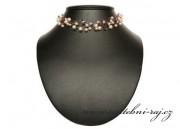 Pavučinka s perlami bordó-krém