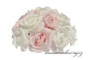 Kytice z pěnových růží bílo-růžové