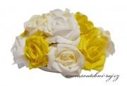Buket z pěnových růží bílo-žlutý