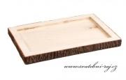 Zobrazit detail - Dřevěný tác s imitací kůry - 30 x 20 cm