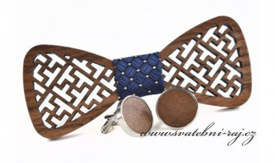 Dřevěný motýlek a knoflíčky - sada